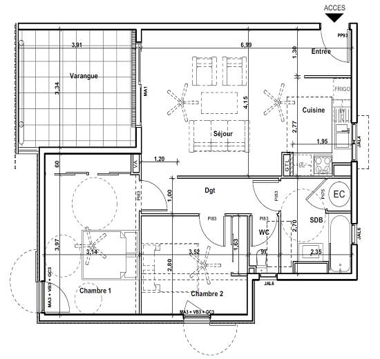 plan d'appartement f3